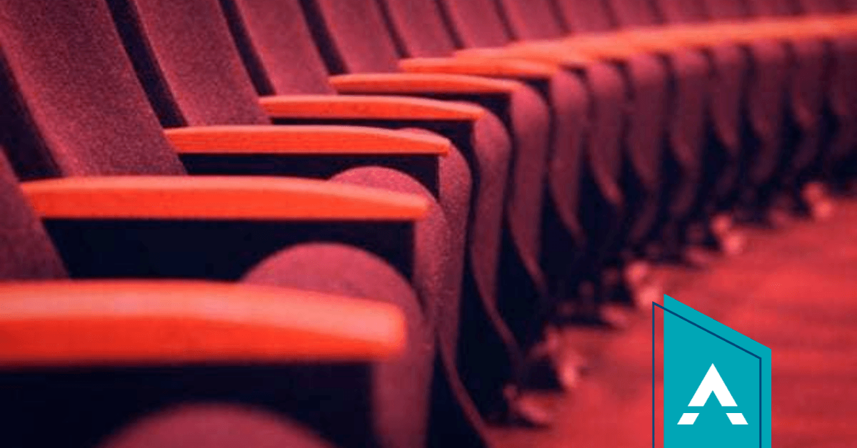 Row of red theatre chairs